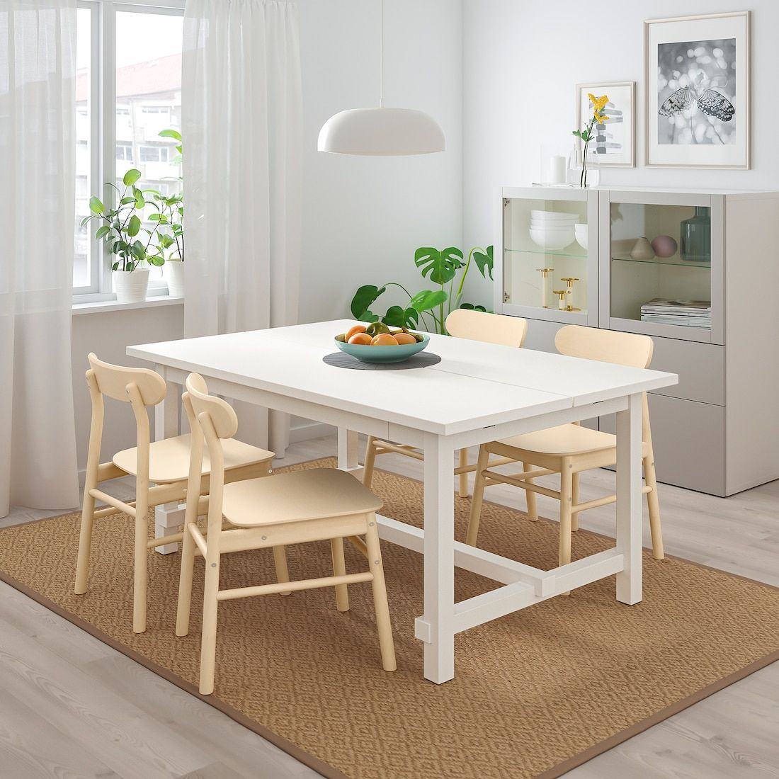 NORDVIKEN / RÖNNINGE Table and 4 chairs, white, birch
