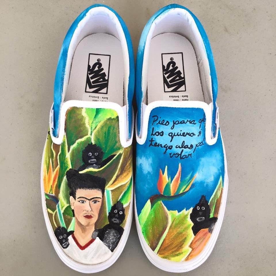 Kv Art custom hand painted monkeys and Frida Kahlo Vans