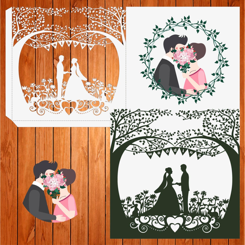 Invitación de la boda tarjeta plantilla, figuras, corazón, novios ...