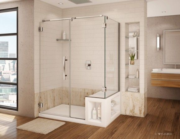 New Trends 2013 Fleurco S New Shower Bases Prlog Bathroom Design Layout Shower Base Shower Base With Seat