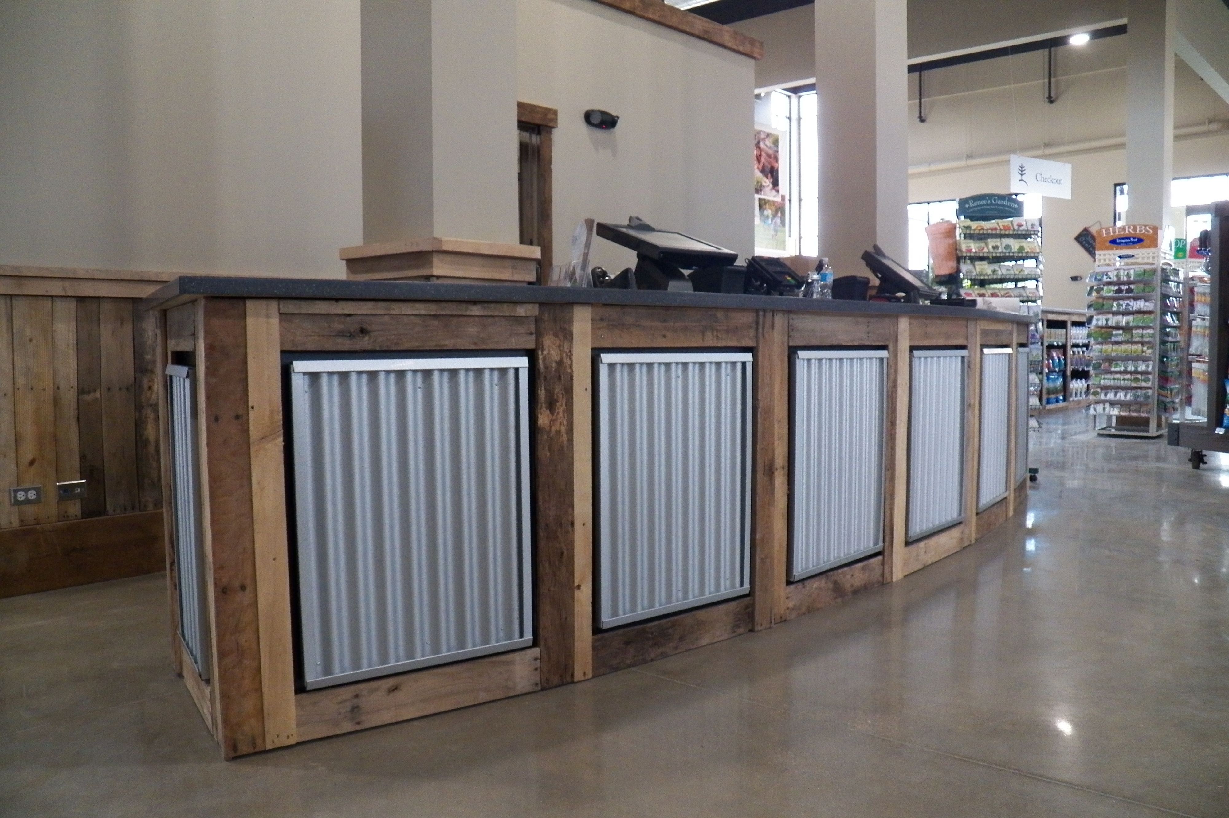 Custom Reception And Sales Desk Counter For Retail By Wai Retail Counter Retail Store Design Rustic Reception Desk