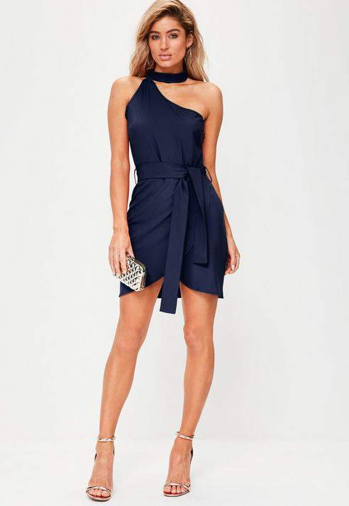 49dc8cff9d0 Missguided Navy one shoulder choker neck tie waist dress | Products ...