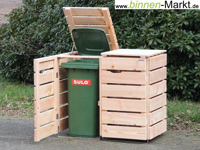 2er Mülltonnenverkleidung Holz, Natur / Mülltonnenbox Holz, Natur