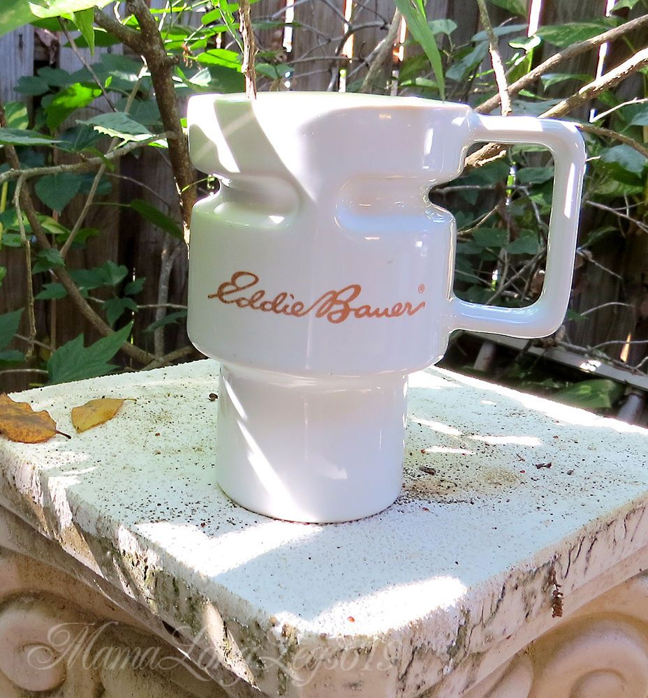 Ed Bauer Tall White Ceramic Gojo Travel Coffee Mug Cup Logo Outdoors Camping Edbauer