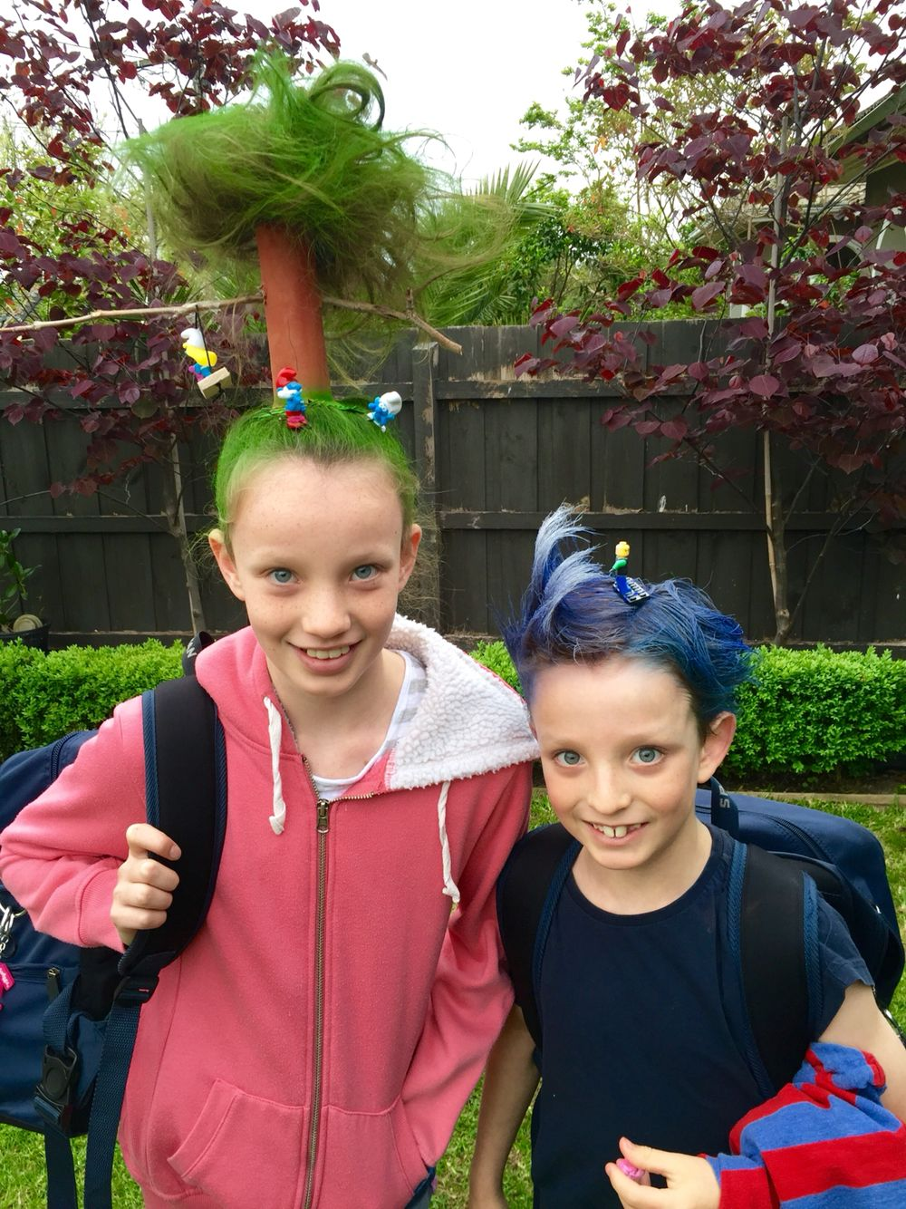 smurf tree and surfer wacky hair day | hair - crazy hair day