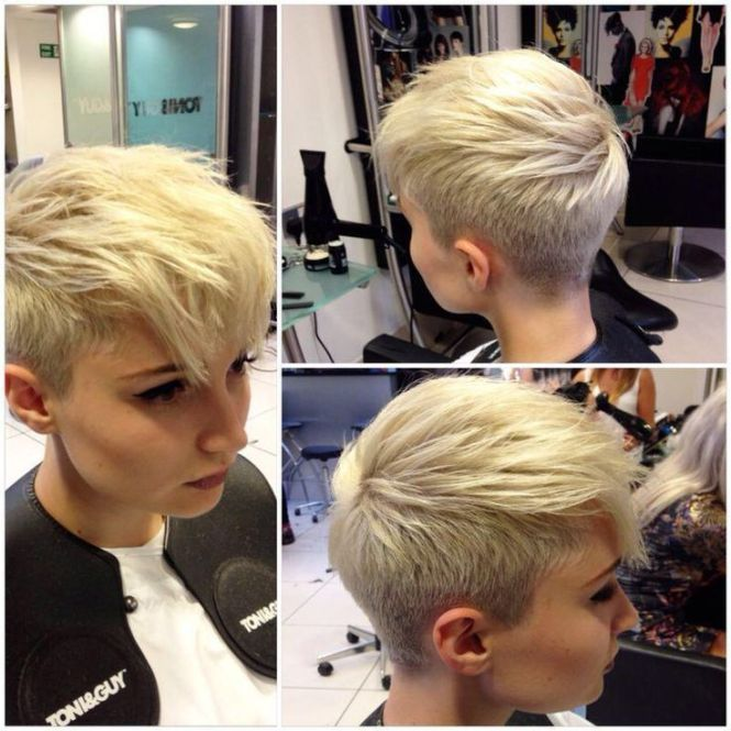 Pixie haircut with shaved sides