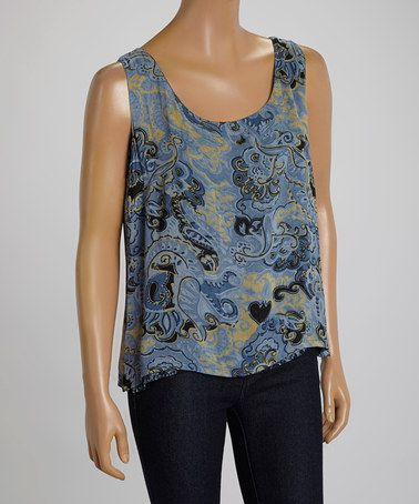 Another great find on #zulily! Blue Paisley Scoop-Neck Tank by Indira #zulilyfinds