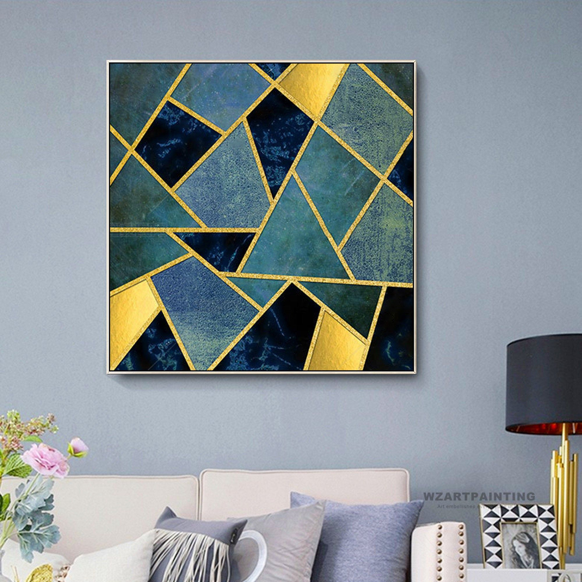 Framed Wall Art Modern Geometric Gold Black Navy Blue Green Etsy Painters Tape Art Art Deco Wall Art Diy Canvas Art