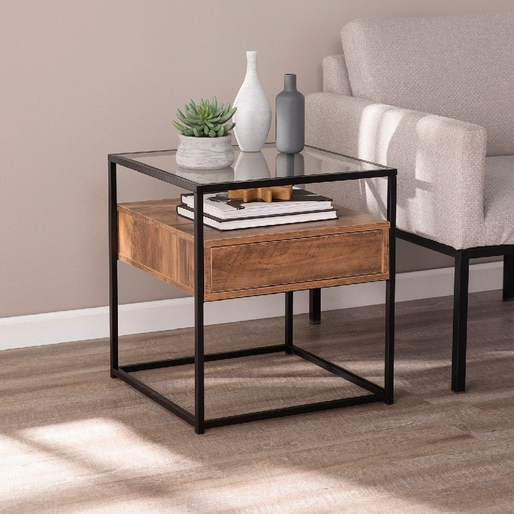 Olivern Glass Top End Table W Storage Southern Enterprises Oc1014106 In 2020 Living Room Side Table Table Decor Living Room Glass Top End Tables