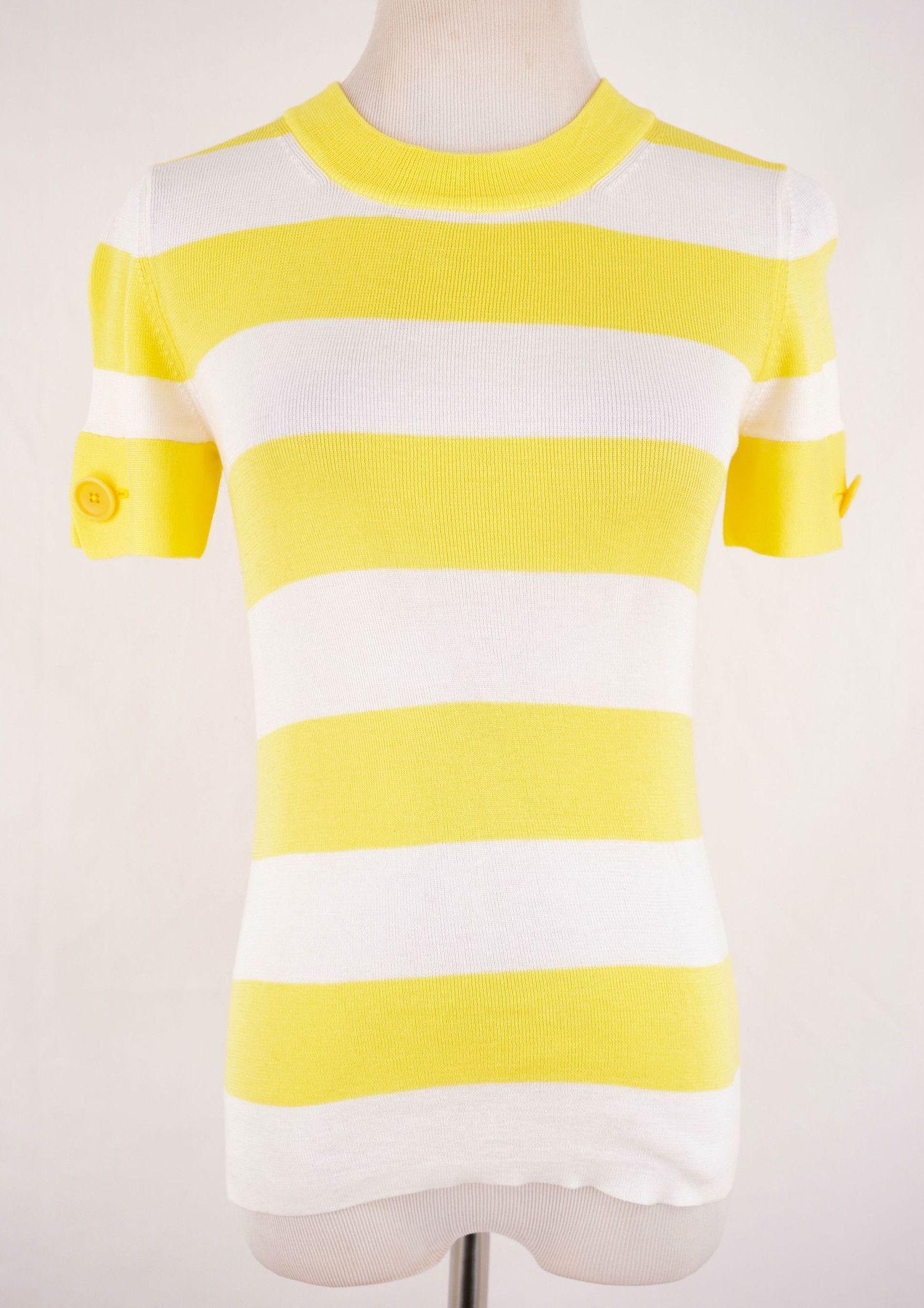 Banana Republic Striped Yellow Shirt Size S