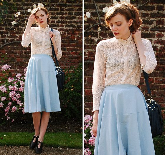 Style Inspiration: Heavenly Blue Skirt, Miss Patina Classic White Lace Blouse