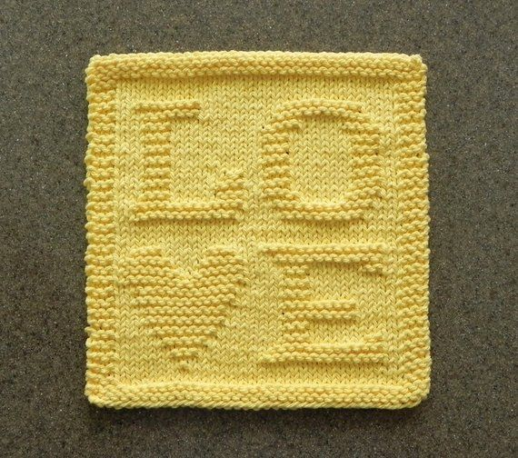 Love Knit Dishcloth Yellow Heart 100 Cotton Dish Cloth