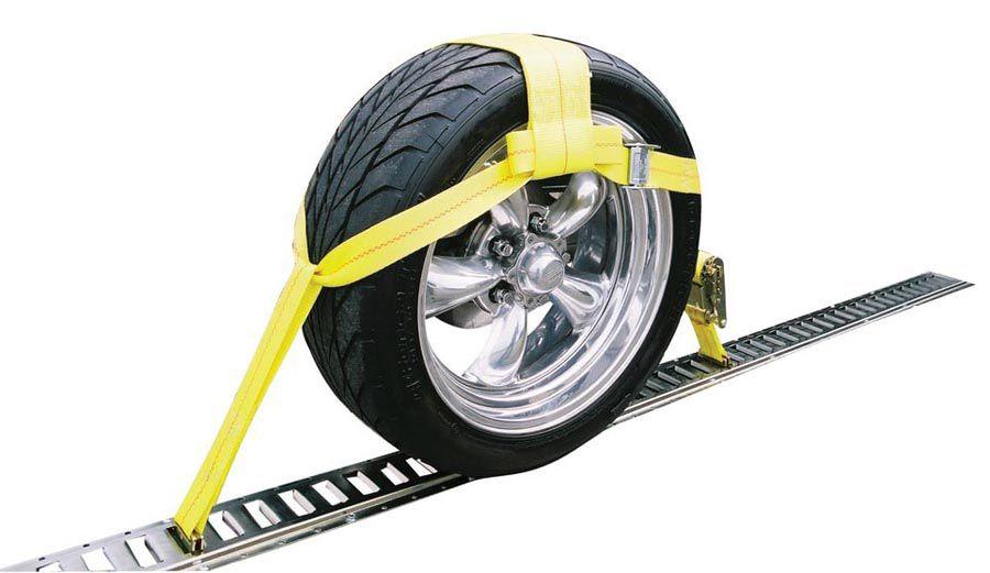 Etrack adjustable tire strap ratchet tow truck