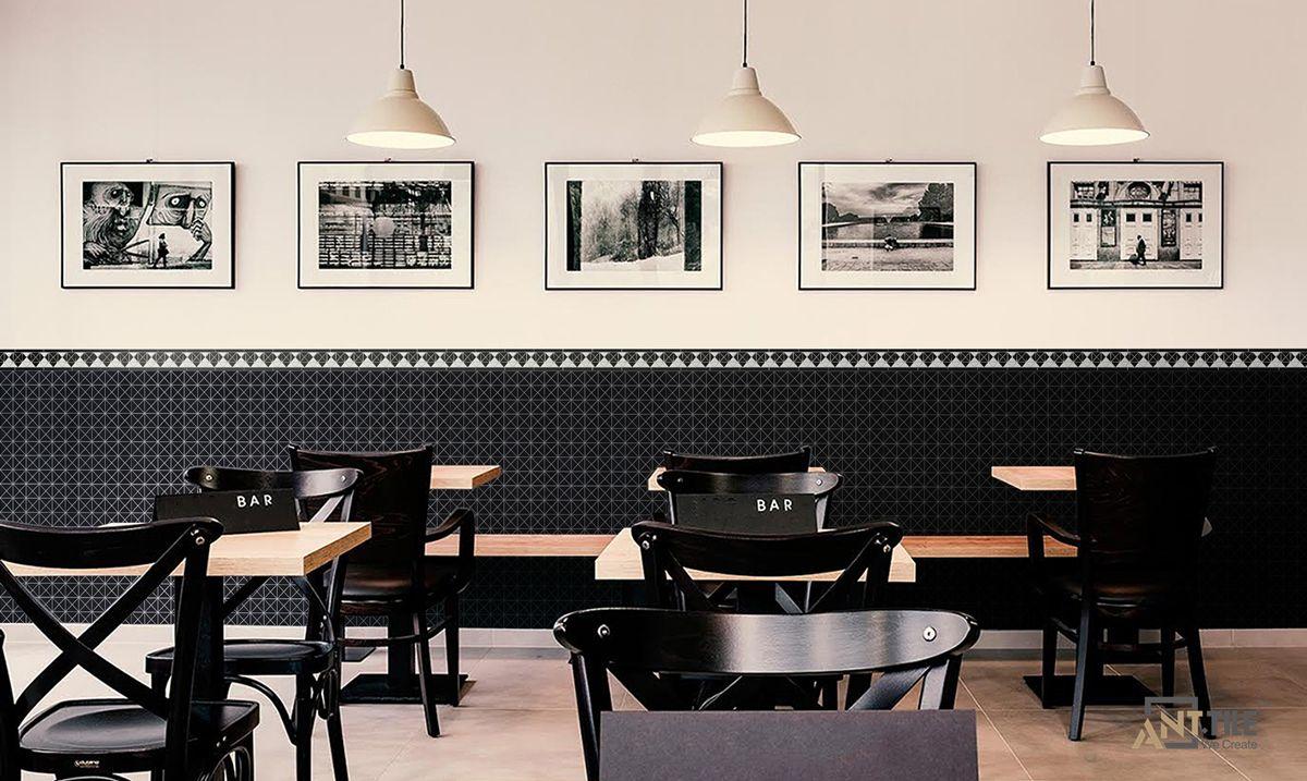 Decorative Black White Diamond Pattern Border Tiles for