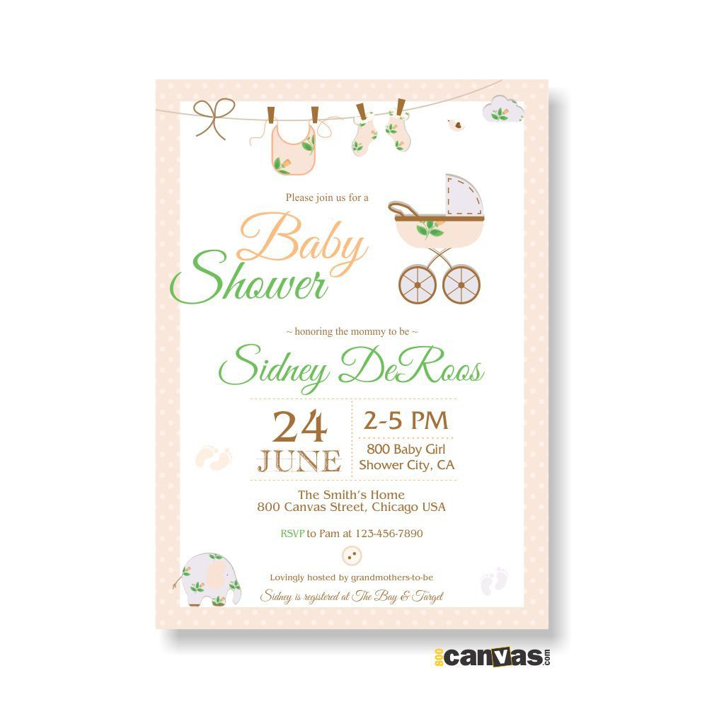 Stroller Baby Shower Invitations Buggy Stroller In Pink For Girls