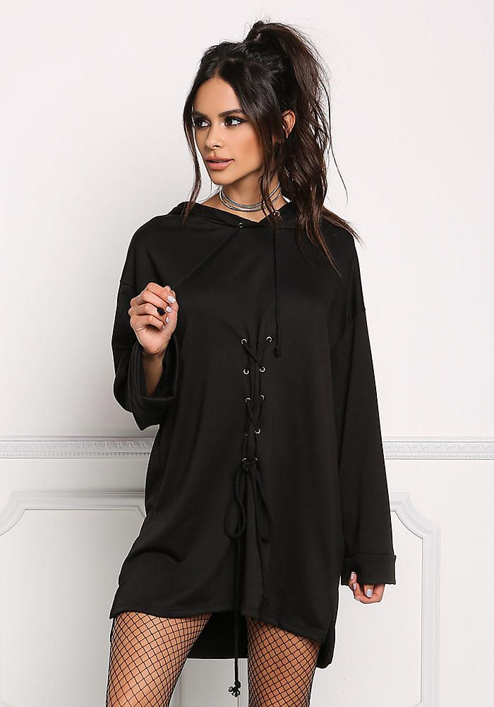 eb775a0ad03 Black Front Lace Up Hooded Shift Dress - New