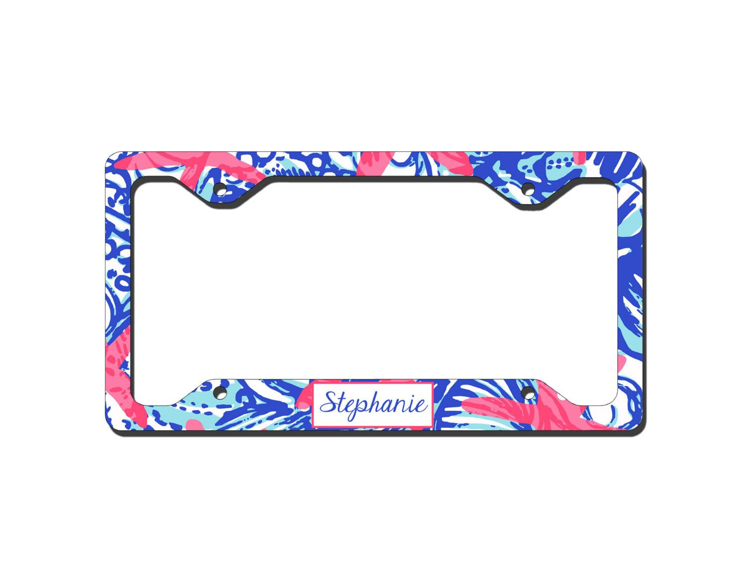 Monogrammed License Plate Frame - Lilly Pulitzer Inspired ...