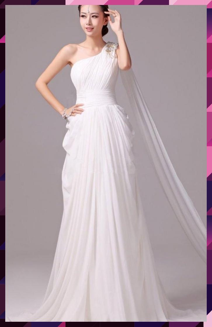 Elegant Greek Goddess Chiffon Beaded One Shoulder Wedding Dress