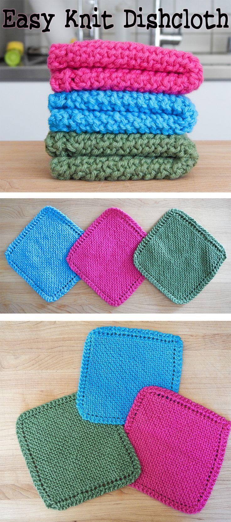 Easy Knit Dishcloth / Washcloth | Knitted dishcloth patterns ...