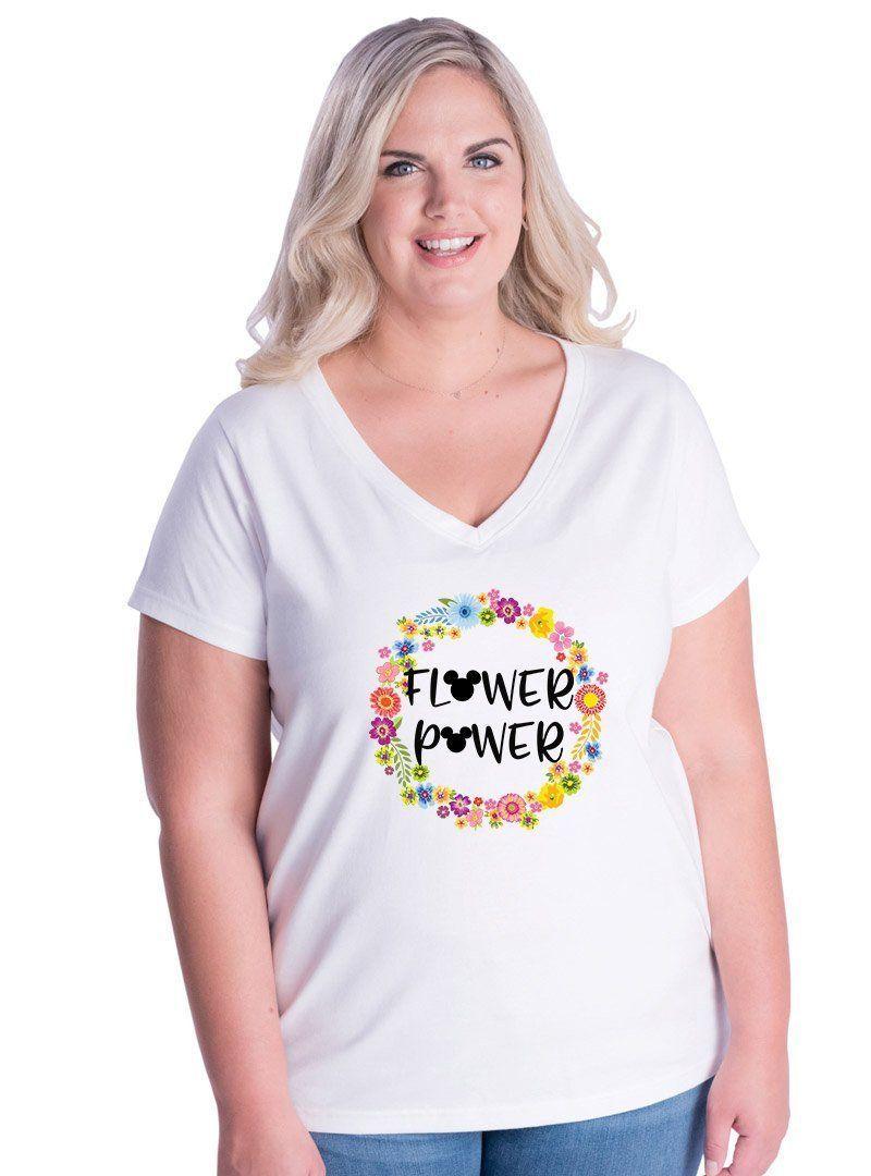 1b608d770a3d1 Plus Size Flower Power Mickey V-Neck