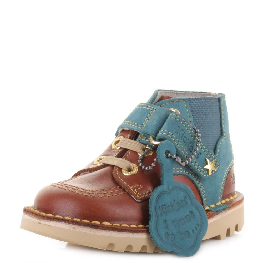 Kickers Kick Hi #Boots - Brown / Blue Only £37.99 On shoestore.co.uk - http://bit.ly/1MewGKD