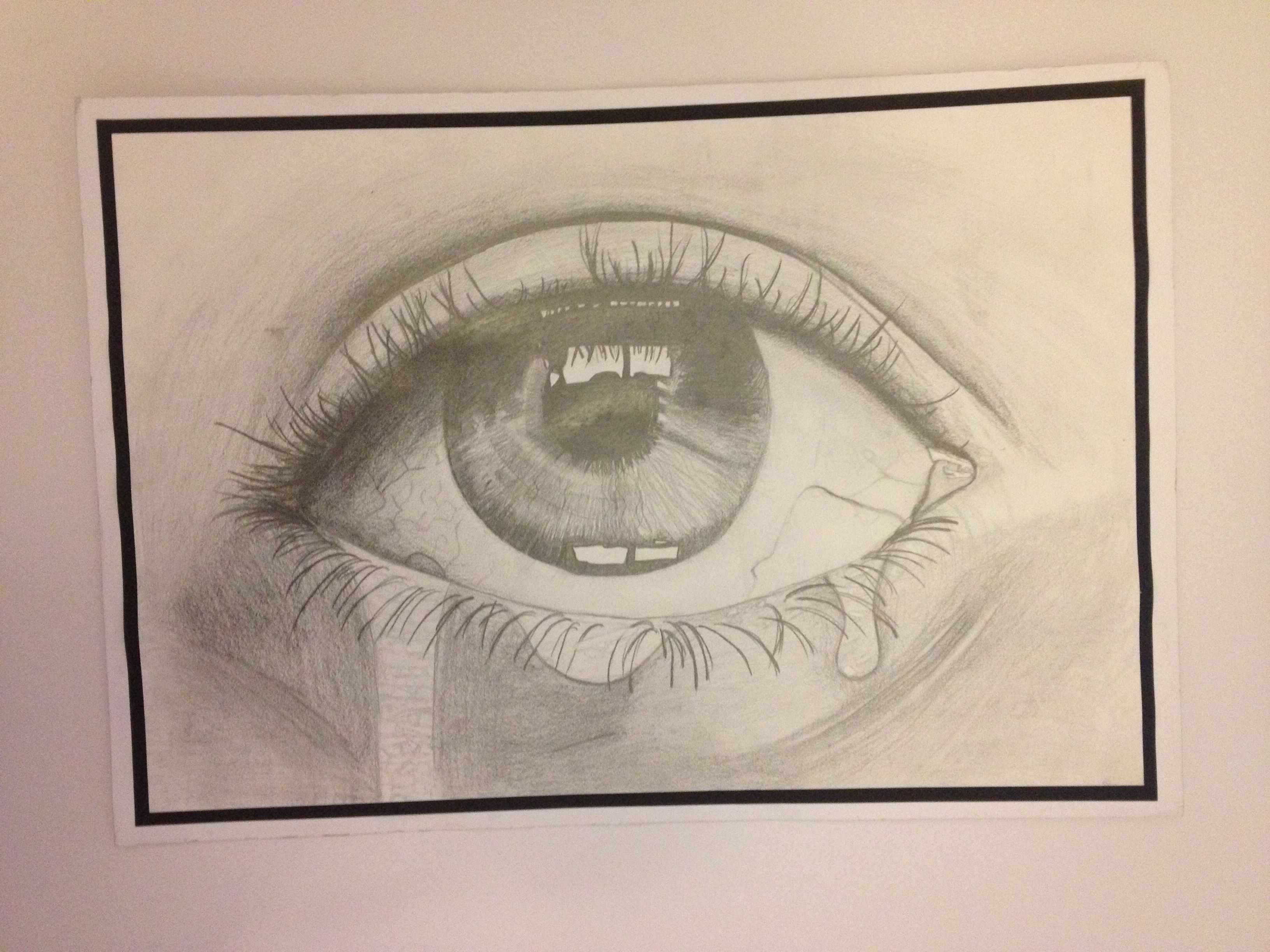 Tonal observational drawing of a crying eye