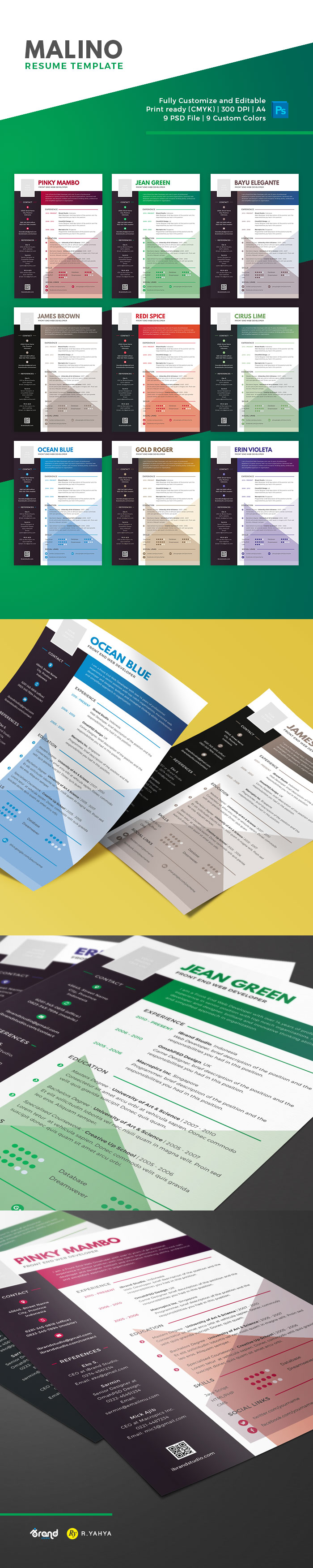 Free Malino Resume Psd Template  Colors  Template And Psd Templates