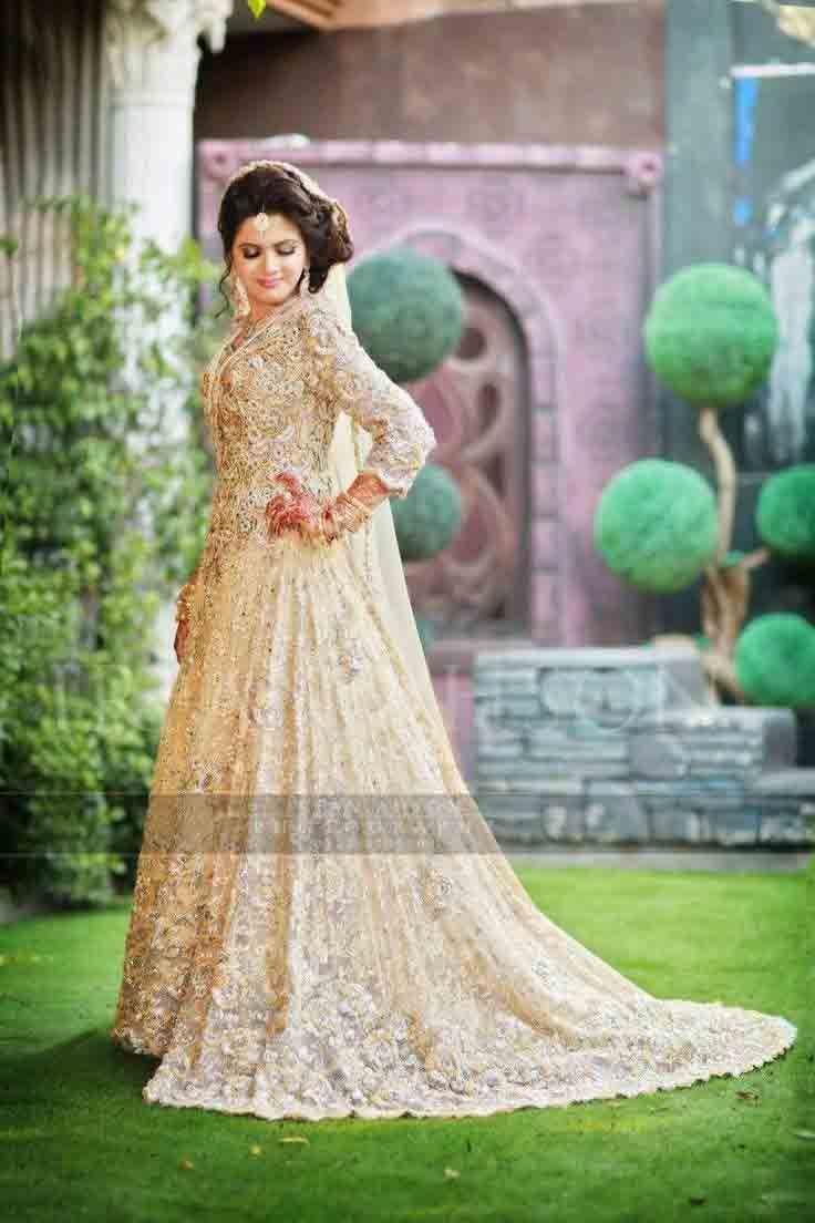 9090486a70 Beautiful off white Pakistani bridal long tail maxi gown dress designs 2017