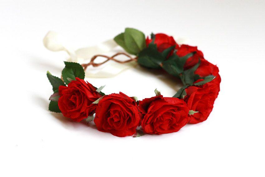 rose crown headband hair wreath - 'hey indio', red romantic statement headpiece, large flower crown, oversized, woodland.. $49.00, via Etsy.