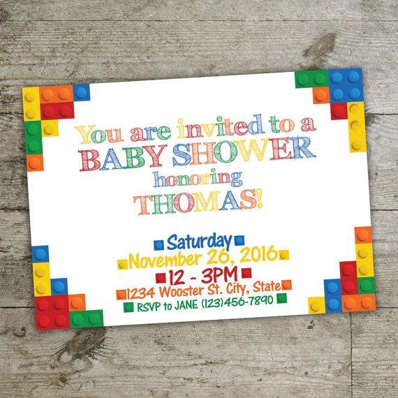 Baby Shower Invitation Lego Invitation Lego By Julieprintables