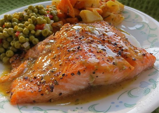 Photo of Brown Sugar Roasted Salmon With Maple-Mustard-Dill Sauce Recipe  – Food.com