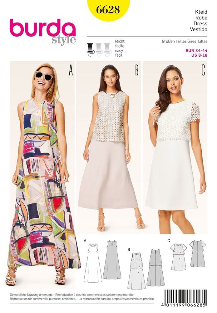 Misses Dress Burda Sewing Pattern 6628. Size 8-18 | Minimal, simple ...