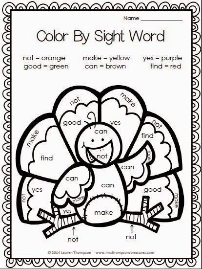 Free color by sight word thanksgiving turkey
