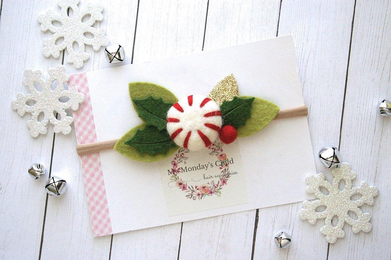 Peppermint Headband, Candy Cane Headband, Christmas Baby Headband, Christmas Hea... #feltflowerheadbands
