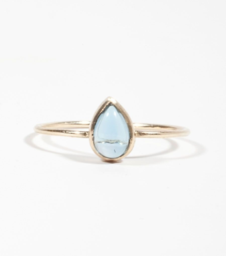 Catbird::shop by category::JEWELRY::Wedding & Engagement::Non-traditional::Teardrop Ring, Blue Topaz