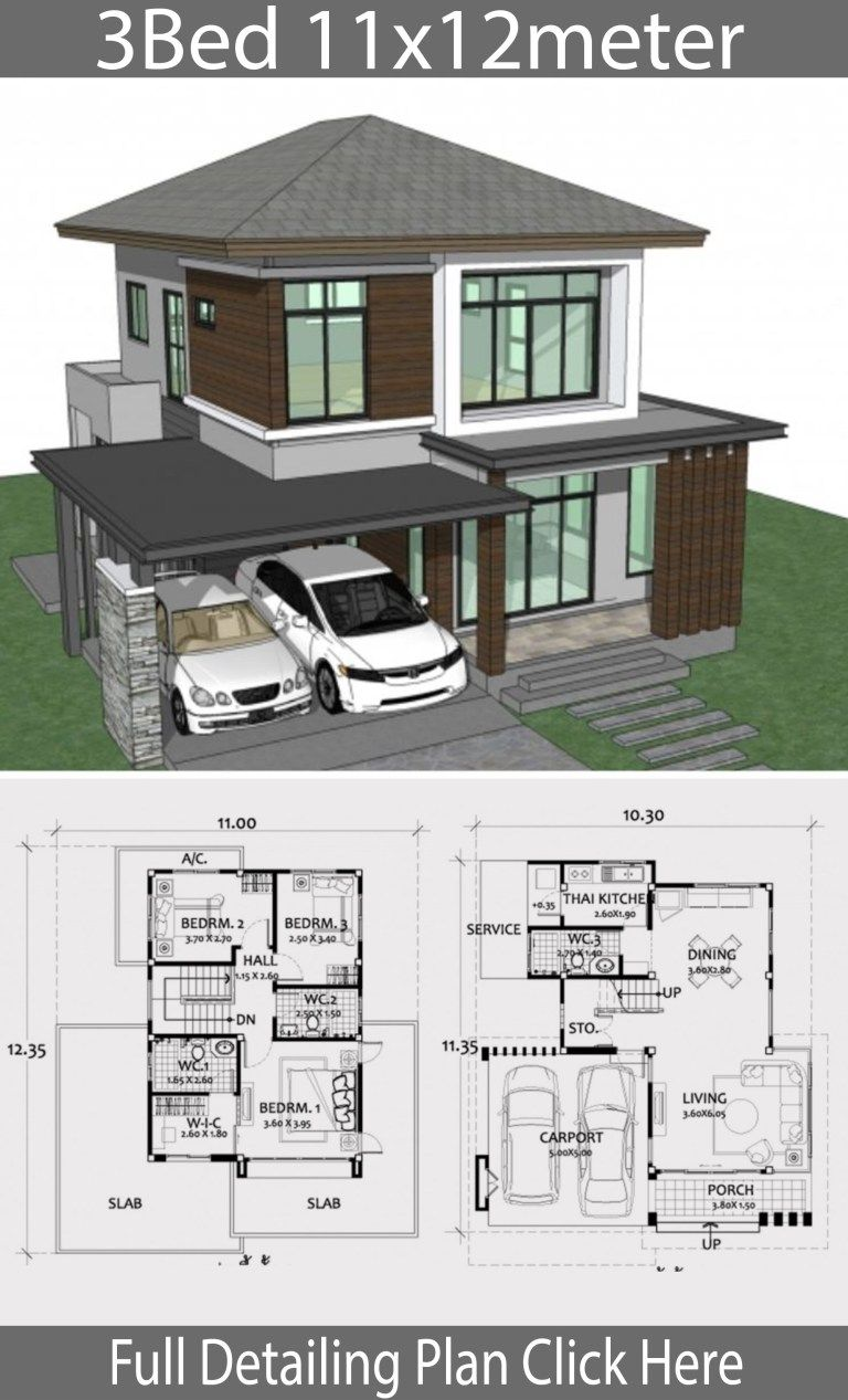 Home design plan 11x12m with 3 bedrooms | Plan maison ...
