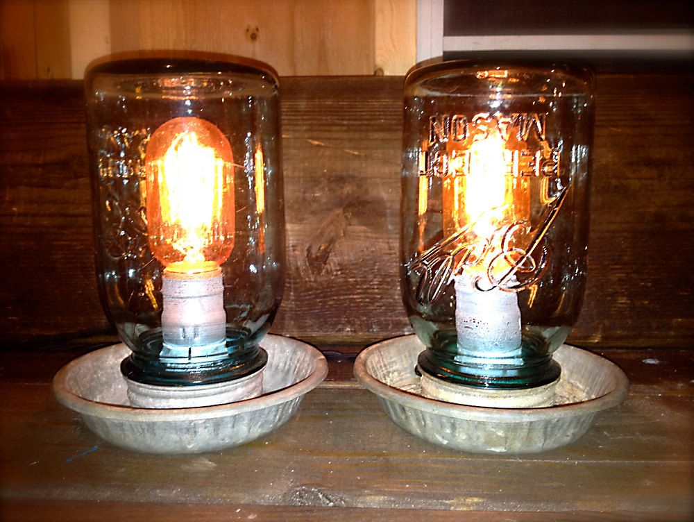 repurposed lighting. Repurposed Chicken Feeder Lamps / Vintage Blue Mason Jar Light. $45.00, Via Etsy. | Lighting Pinterest Feeders,