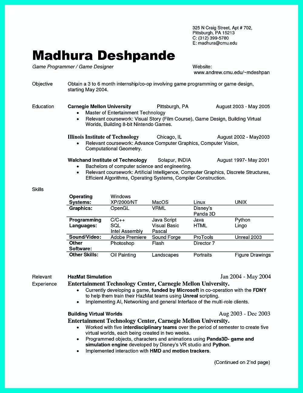 best computer science resume Free resume template word