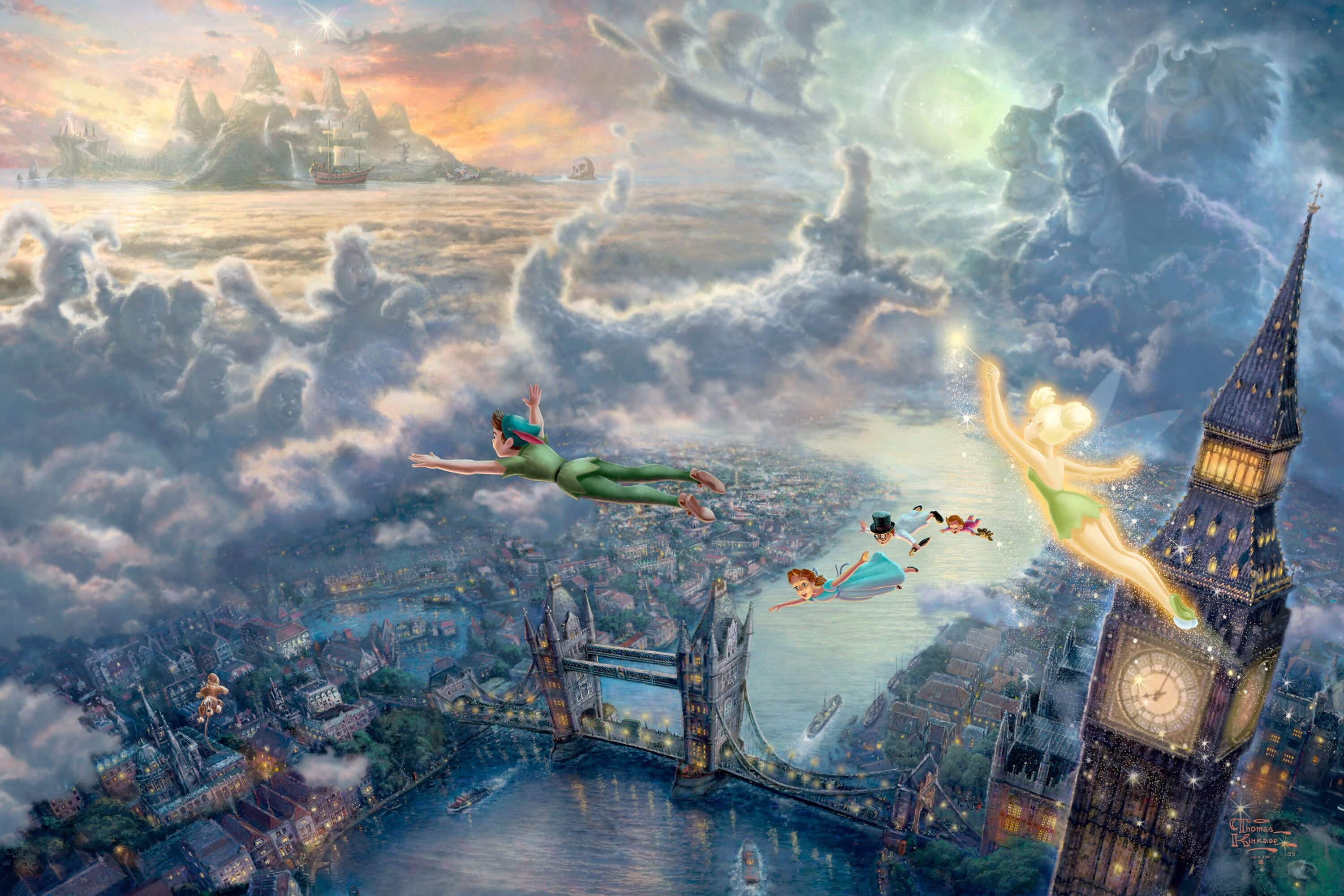 Peter Pan wallpaper #sea #clouds #sunset #bridge #children the city #lights #castle #watch #London #tale #ships #fairy #art #flight #fantasy Big Ben #sea #sunset #art #clouds Thomas Kinkade #London #fairytales Big Ben Thomas Kinkade #Disney 50-th anniversary captain Hook London bridge Peter Pan Tinker bell The Disney dreams collection #Wendy #Tinkerbell #Wendy Tinkerbell and Peter Pan fly to Neverland #2K #wallpaper #hdwallpaper #desktop