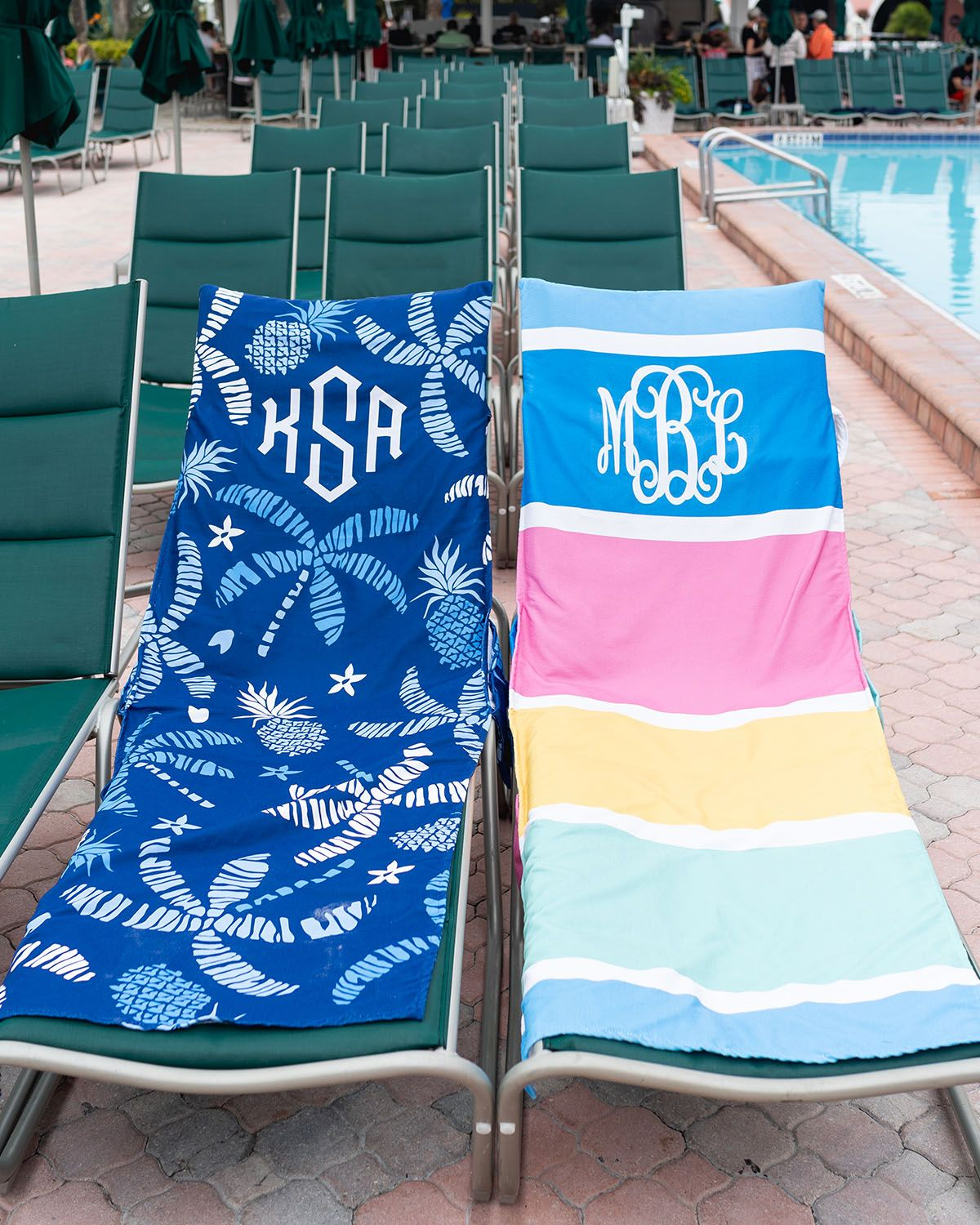 06f49a729cc8 Claim your spot in the sun with this NEW cute Monogrammed Chair cover! With  2 styles to choose from, and pockets on the side - it'll never leave your  pool ...