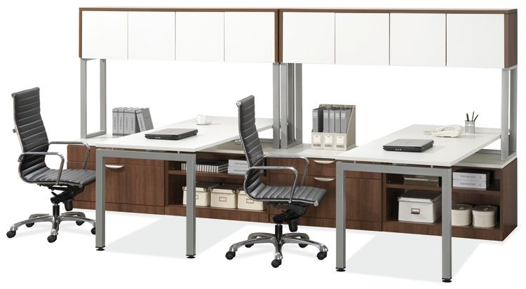 2 Person Workstation Modern Walnut White Tops Doors By Office