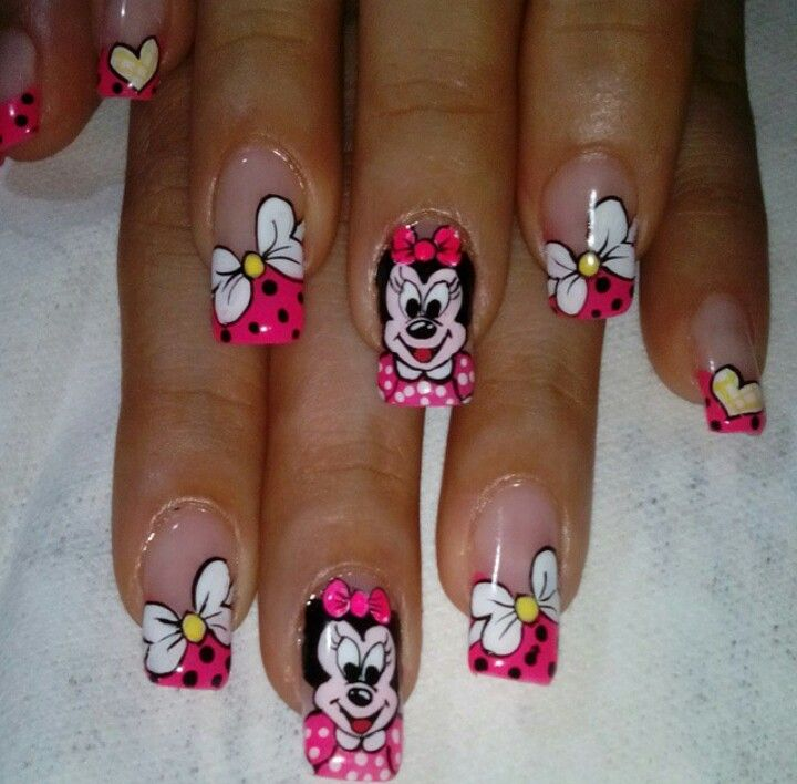 So cute! Minnie mouse nail art design | for summer | for short nails ...