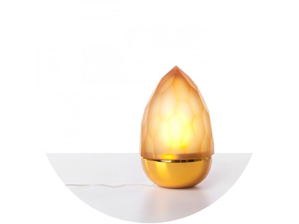 Luxusná stolová sklenená lampa s tvarom večného plameňa.