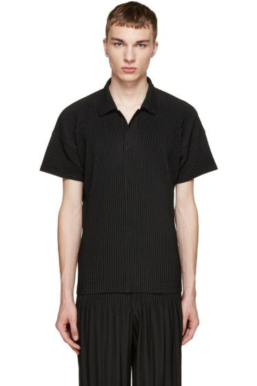 Cheap Sale Clearance Buy Cheap Wholesale Price Black Pleated Polo Homme Plissé Issey Miyake Buy Cheap Footlocker ELtT0ua