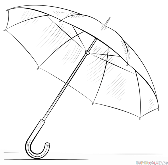 How To Draw An Umbrella Step By Step Drawing Tutorials For Kids And
