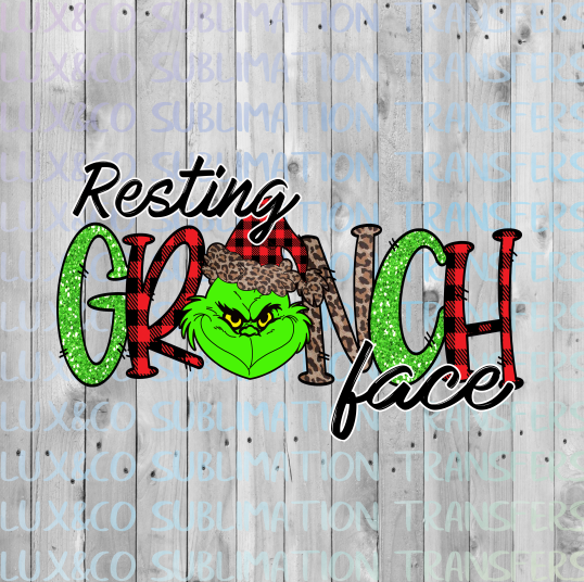 Resting Grinch Face Christmas Sublimation Transfer