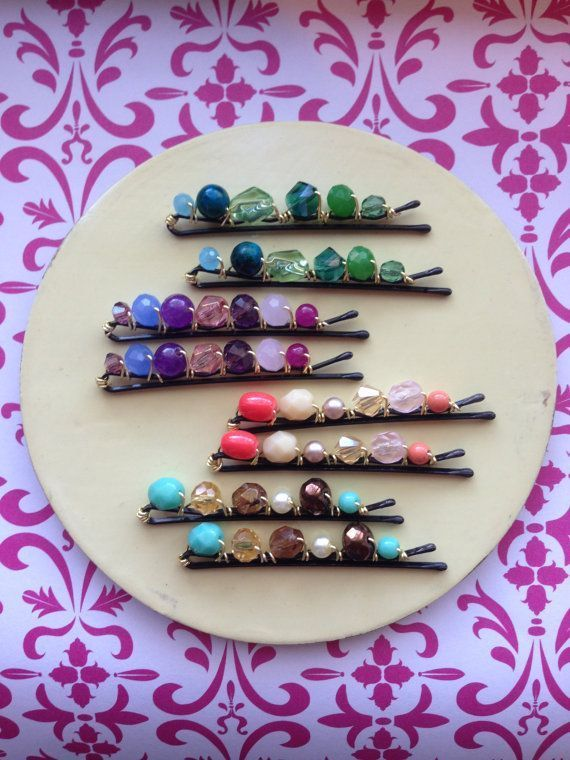 Items similar to Beautiful hand wire beaded bobby pins, set of 2 on Etsy  Beautiful hand wire beaded bobby pins by WiredJewelrybyJenna, $3.50  #Beaded #Beautiful #Bobby #Etsy #hand #Items #Pins #Set #similar #wire