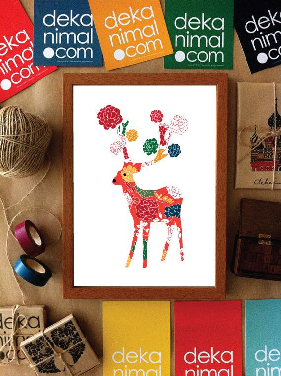 Deer Art Print Rose Deer Illustration Animal by dekanimal on Etsy