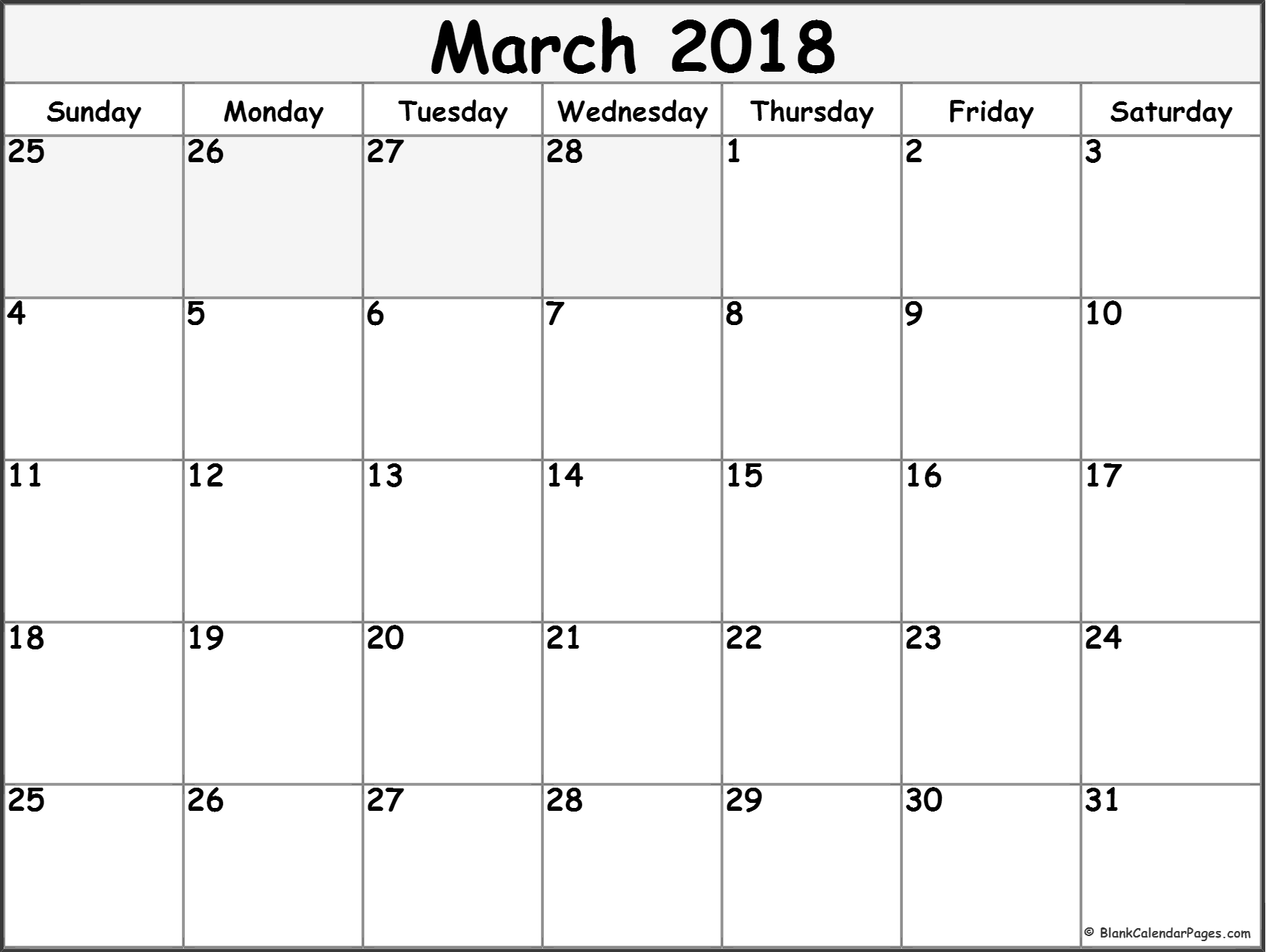 March 2018 Monthly Calendar Template March Printable Calendar