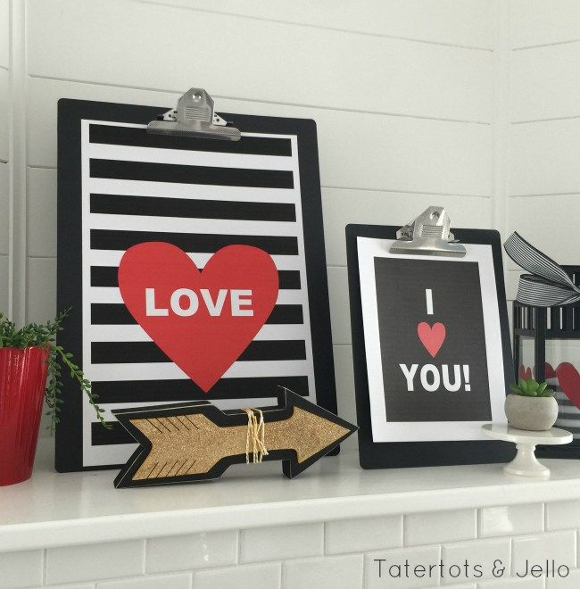 """Valentine I Love You Black and White Printables. This free printable is darling for a frame or just display them on clipboards. They can be any size and nothing says it like, """"I Love You!"""" for Valentine's Day!"""